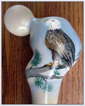 Hand Painted Eagle Themed Cane