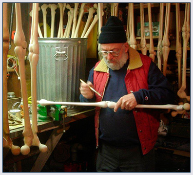 Bob painted a hand carved My Third Leg collectable cane.