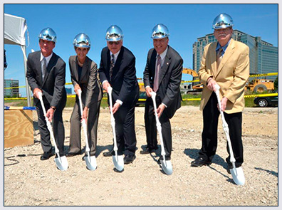 The AAOS use leg bone cane shovels for their ground breaking ceremony.